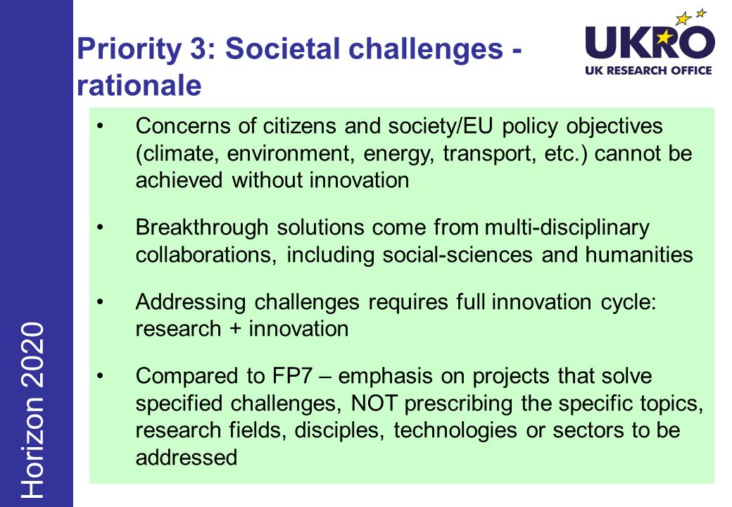 Priority 3: Societal challenges - rationale