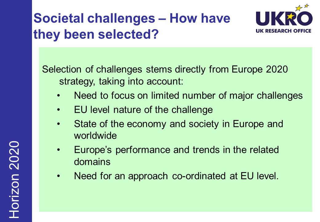 Societal challenges – How have they been selected