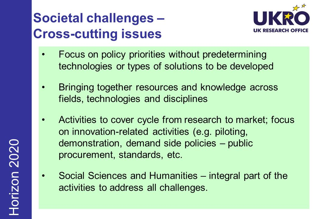 Societal challenges – Cross-cutting issues