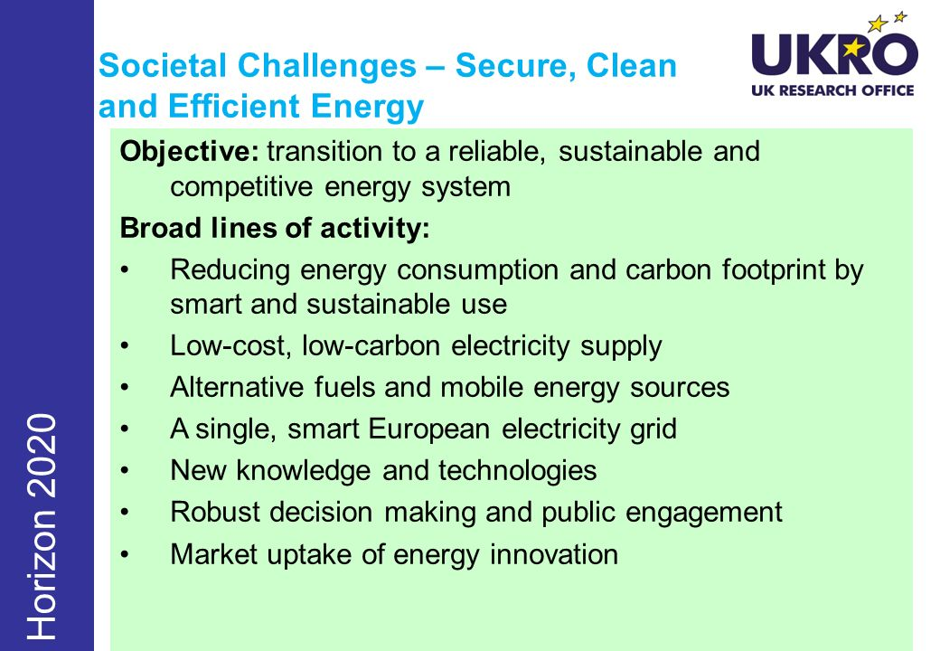 Societal Challenges – Secure, Clean and Efficient Energy