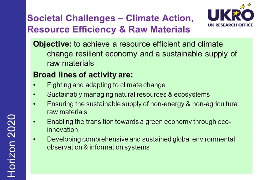 Societal Challenges – Climate Action, Resource Efficiency & Raw Materials