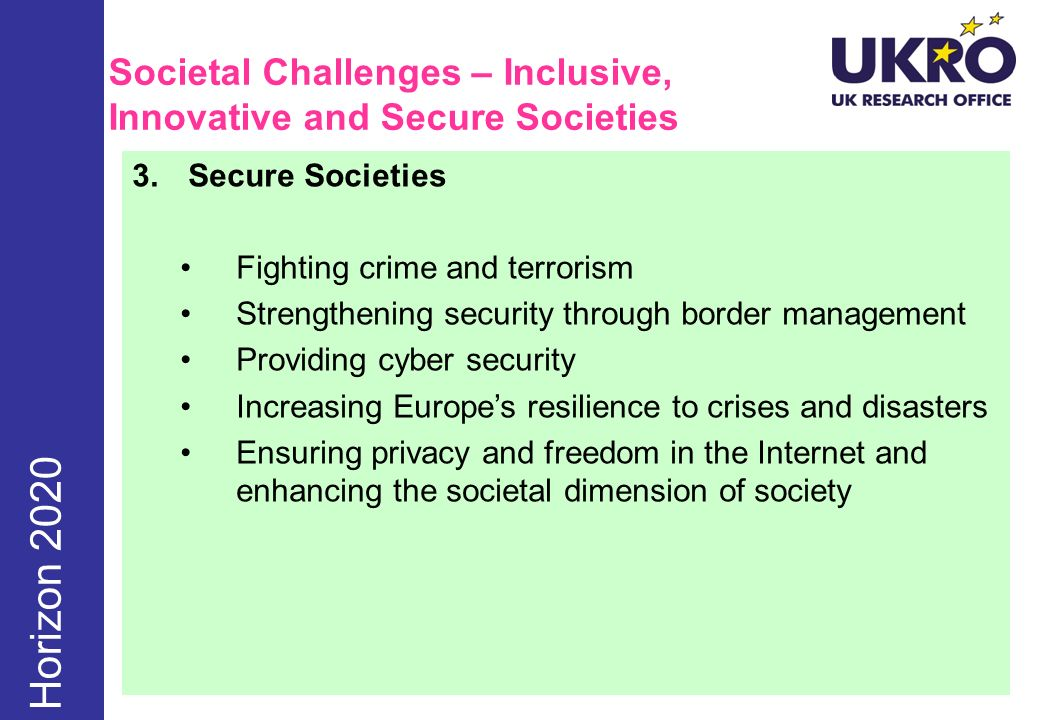 Societal Challenges – Inclusive, Innovative and Secure Societies