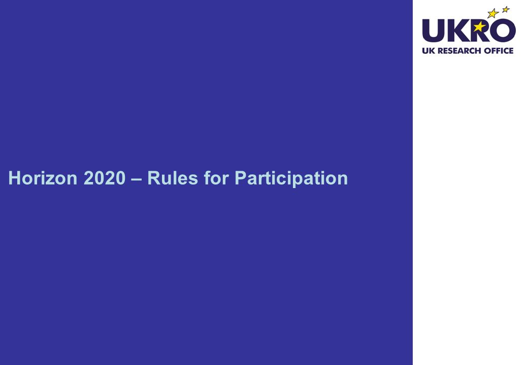 Horizon 2020 – Rules for Participation