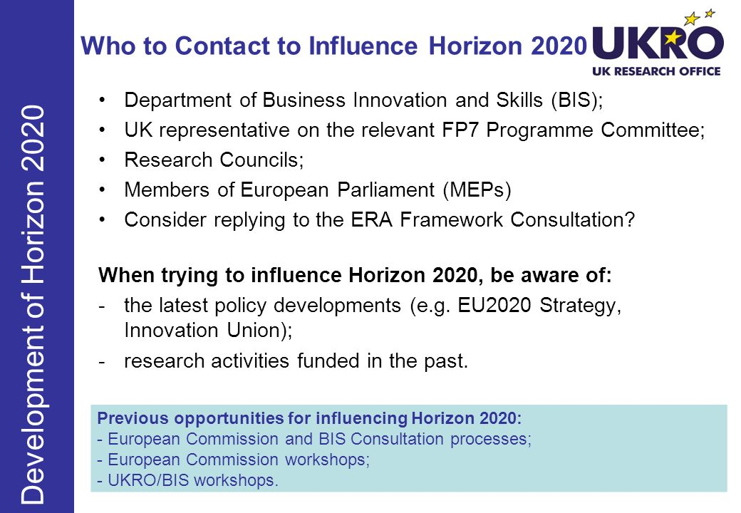 Who to Contact to Influence Horizon 2020