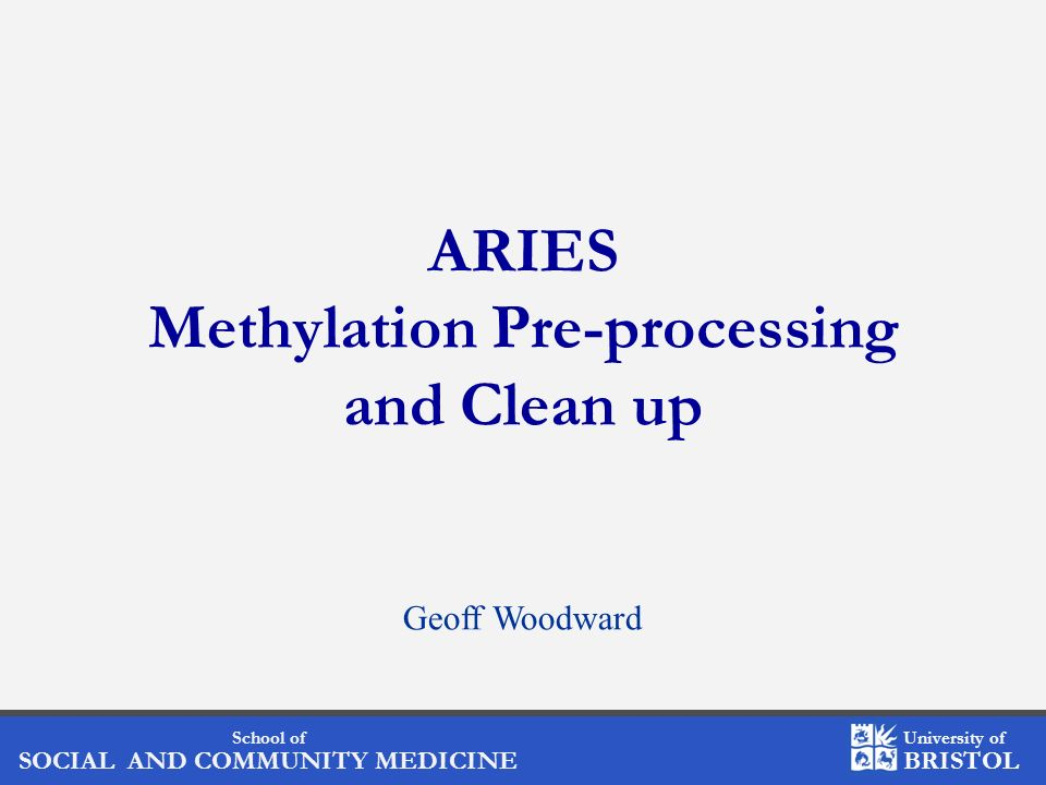 ARIES Methylation Pre-processing and Clean up
