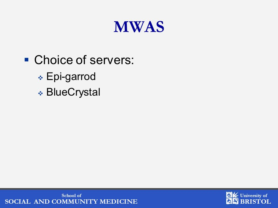 MWAS Choice of servers: Epi-garrod BlueCrystal