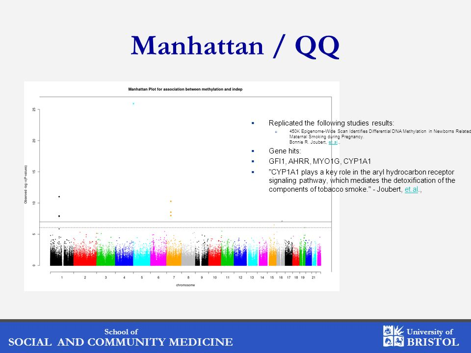Manhattan / QQ Replicated the following studies results: Gene hits: