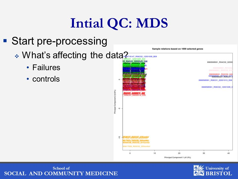 Intial QC: MDS Start pre-processing What's affecting the data
