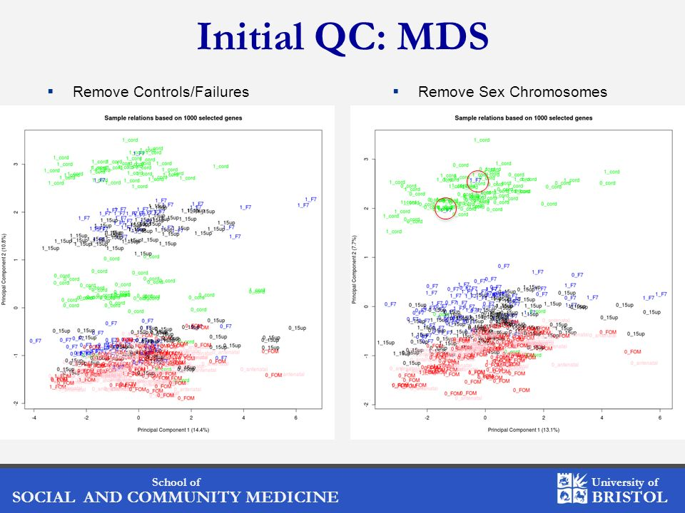 Initial QC: MDS Remove Controls/Failures Remove Sex Chromosomes