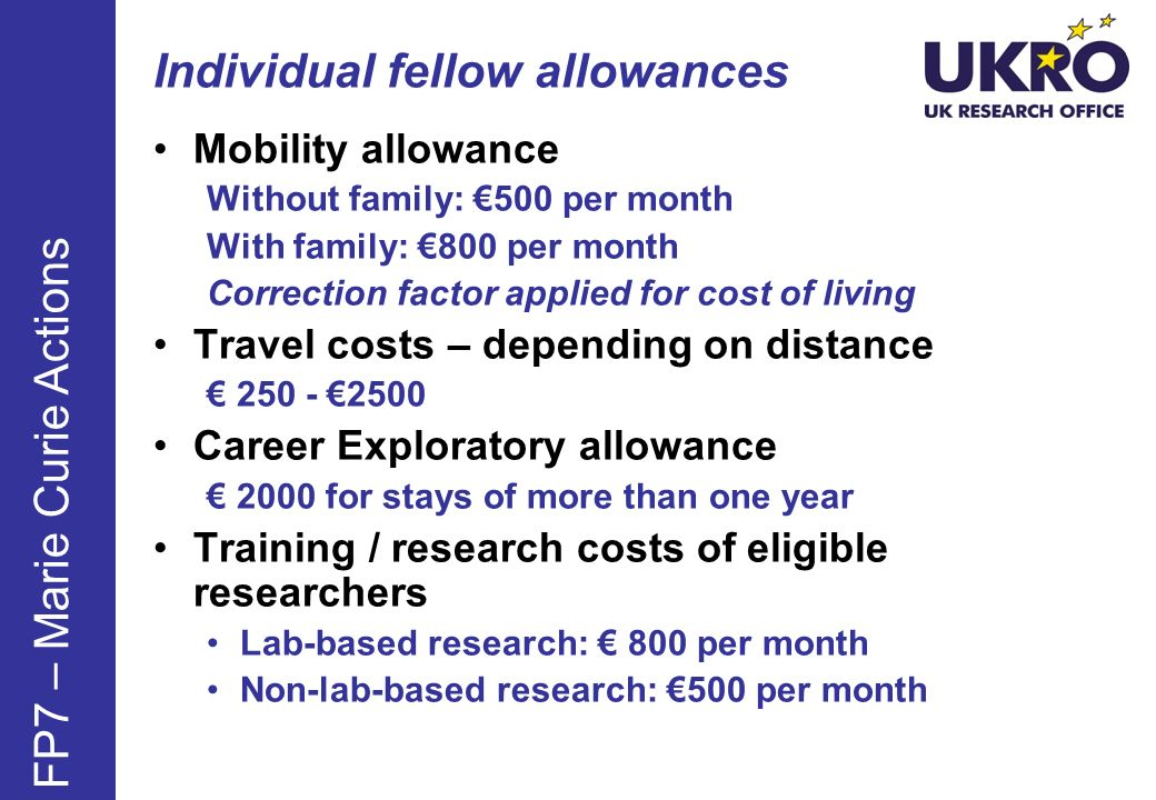 Individual fellow allowances