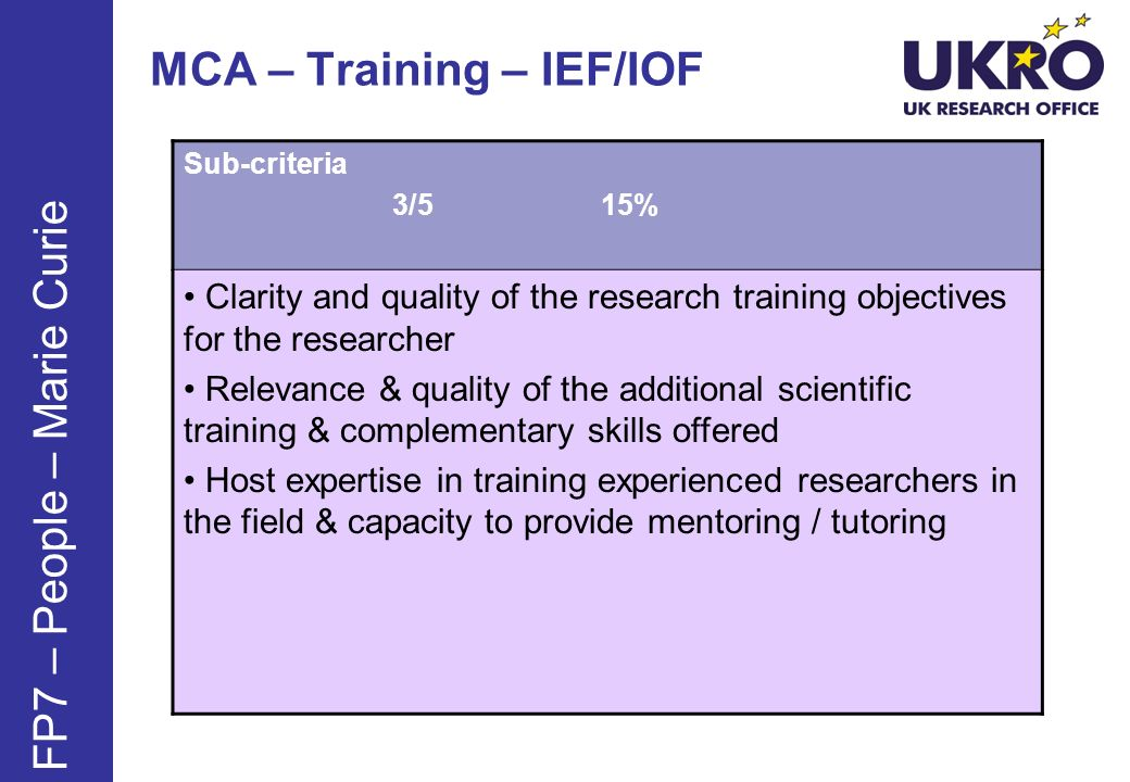 MCA – Training – IEF/IOF