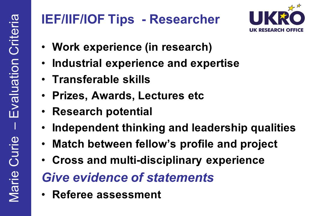 IEF/IIF/IOF Tips - Researcher