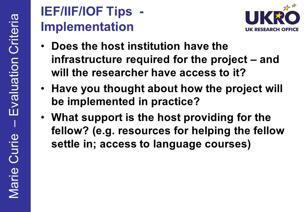 IEF/IIF/IOF Tips - Implementation