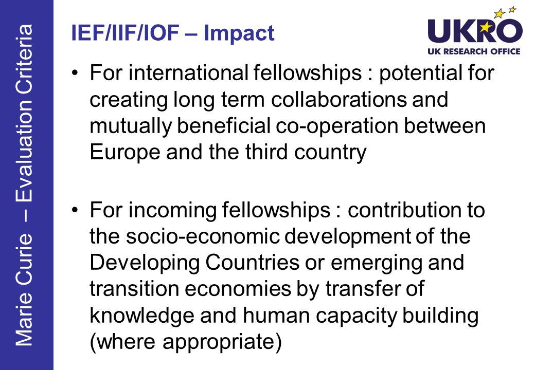 IEF/IIF/IOF – Impact