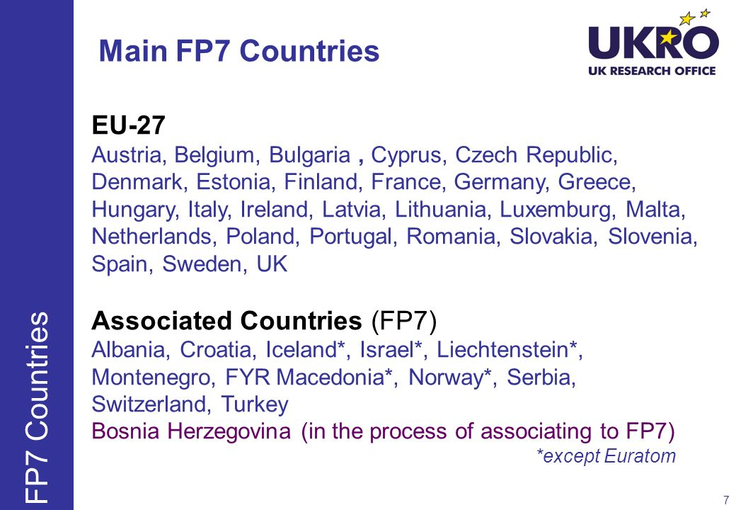 Main FP7 Countries FP7 Countries EU-27 Associated Countries (FP7)