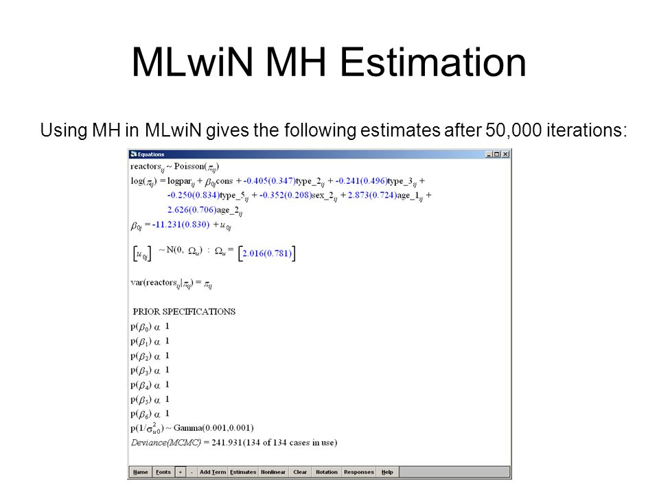 MLwiN MH Estimation Using MH in MLwiN gives the following estimates after 50,000 iterations: