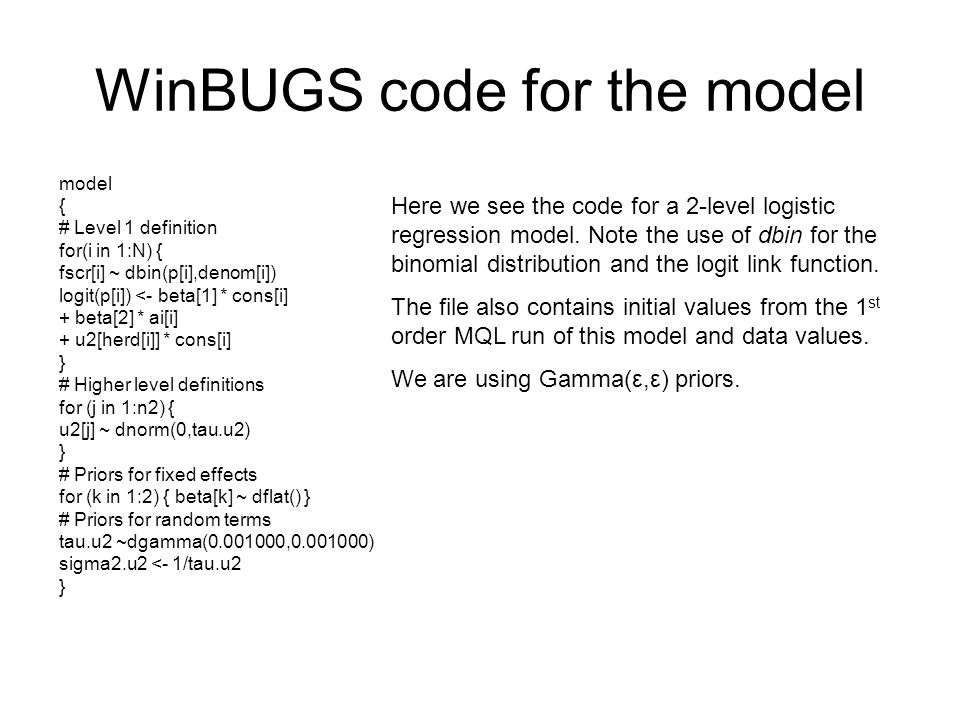 WinBUGS code for the model