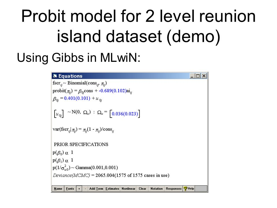 Probit model for 2 level reunion island dataset (demo)