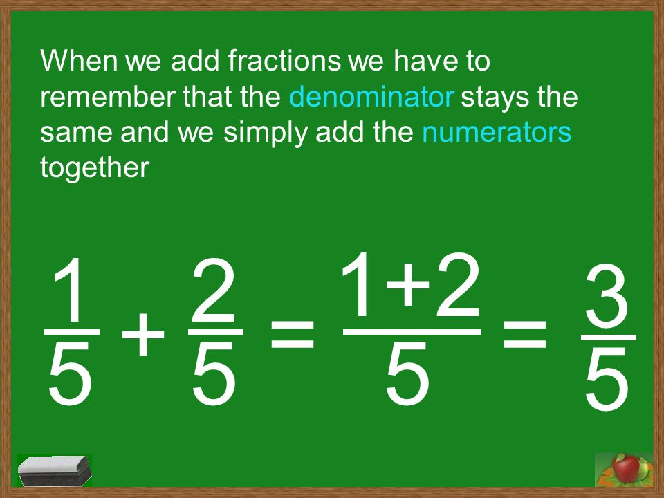 Converting improper fractions into mixed numbers ppt video when we add fractions we have to remember that the denominator stays the same and we ccuart Gallery