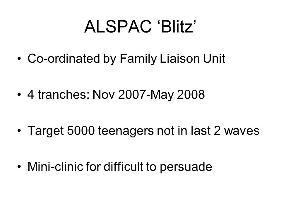 ALSPAC 'Blitz' Co-ordinated by Family Liaison Unit