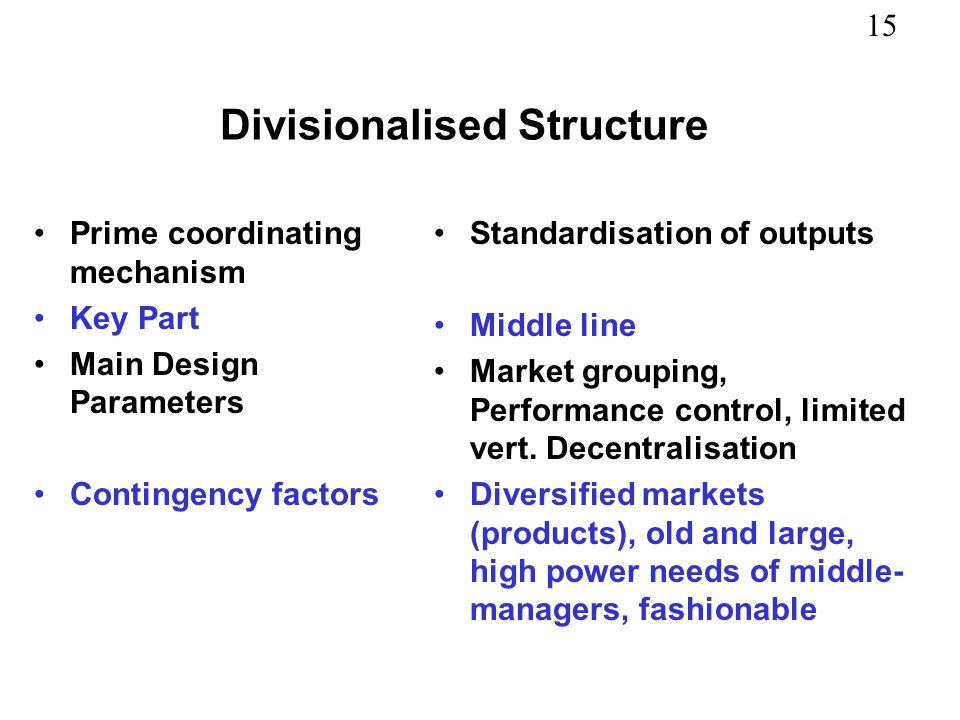 Divisionalised Structure