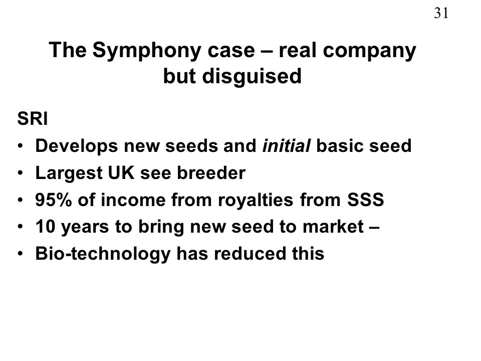 The Symphony case – real company but disguised