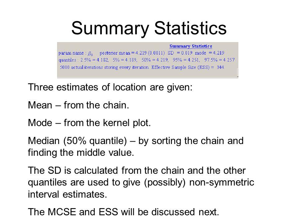 Summary Statistics Three estimates of location are given: