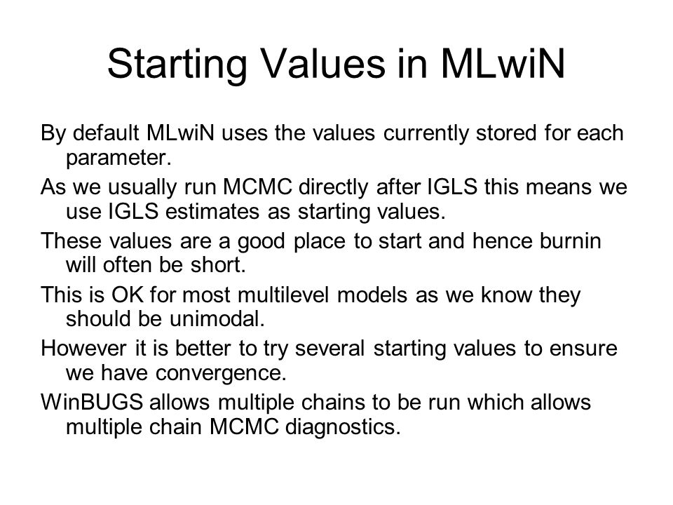 Starting Values in MLwiN