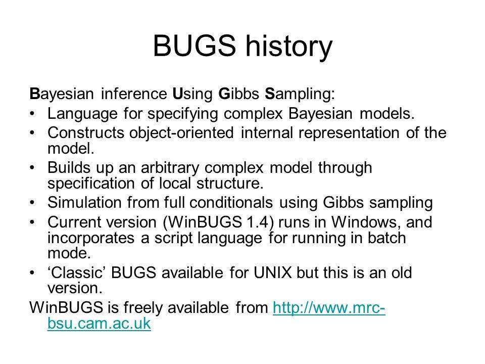 BUGS history Bayesian inference Using Gibbs Sampling: