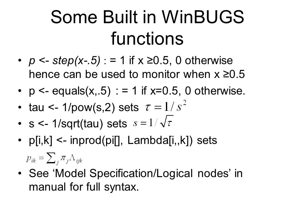 Some Built in WinBUGS functions