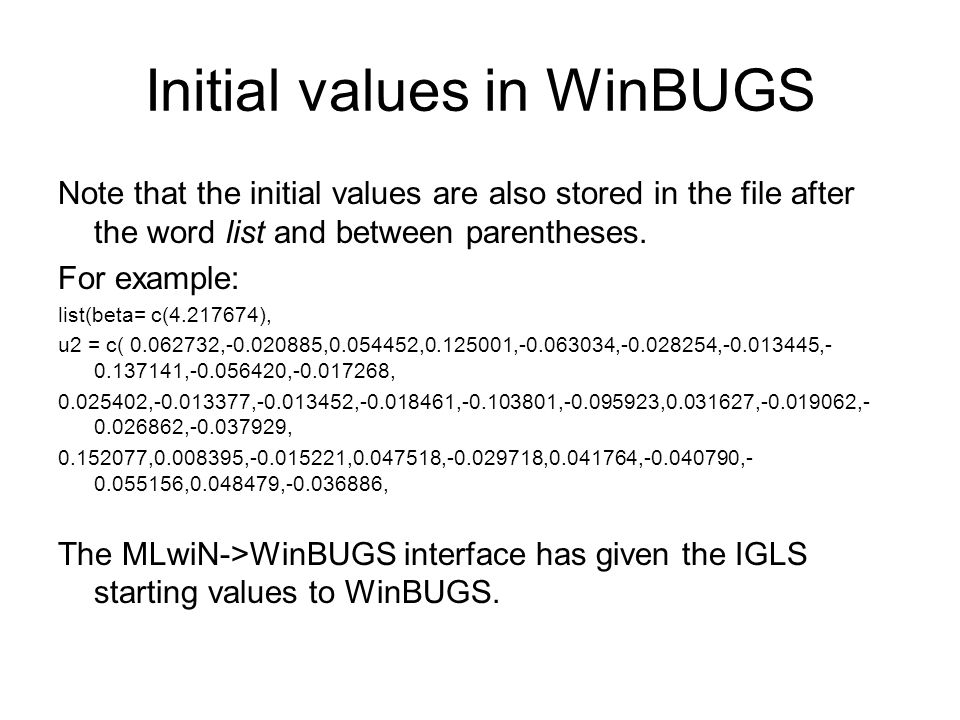 Initial values in WinBUGS