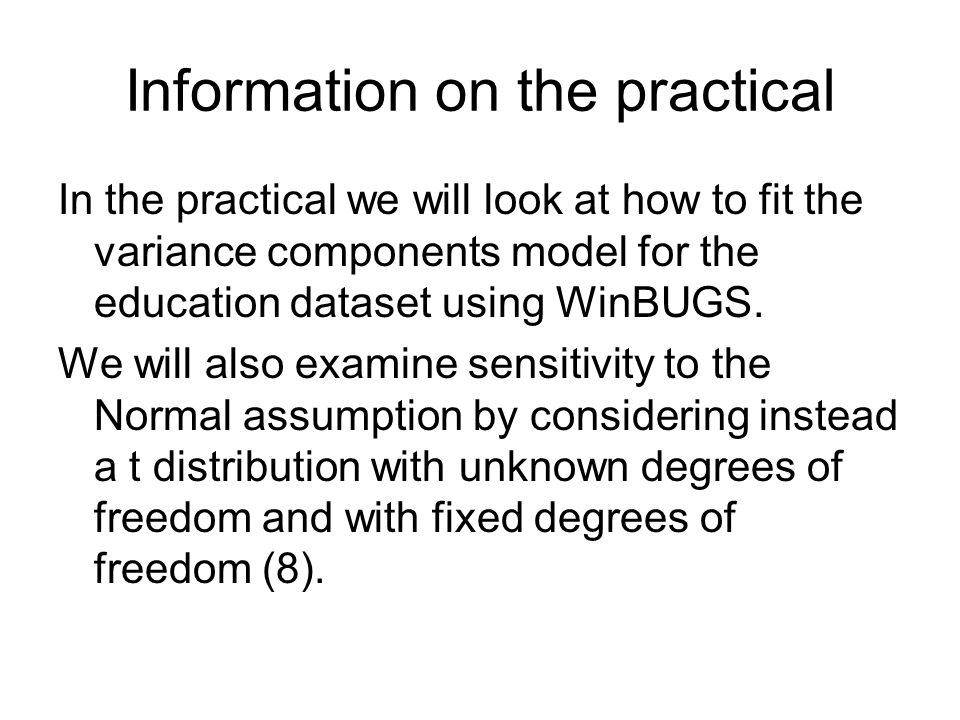 Information on the practical