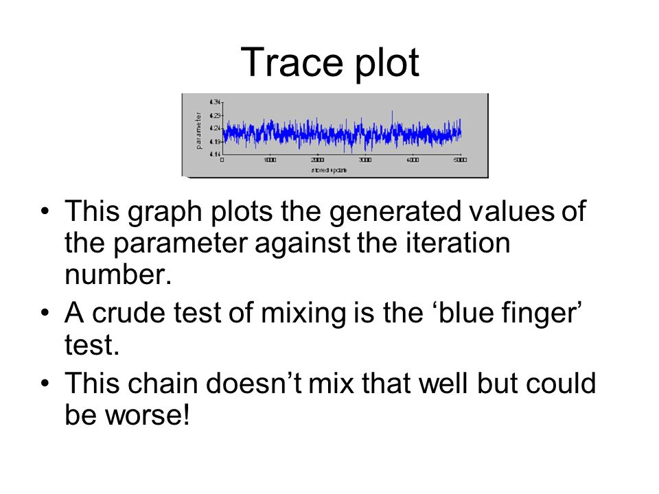 Trace plot This graph plots the generated values of the parameter against the iteration number. A crude test of mixing is the 'blue finger' test.