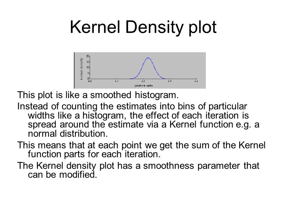 Kernel Density plot This plot is like a smoothed histogram.