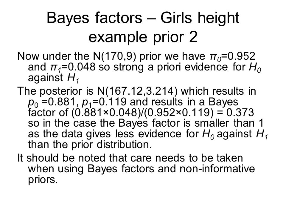 Bayes factors – Girls height example prior 2