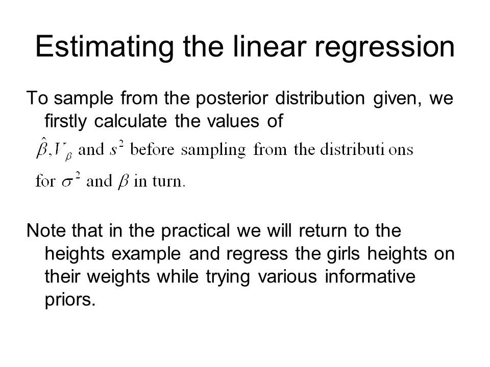 Estimating the linear regression