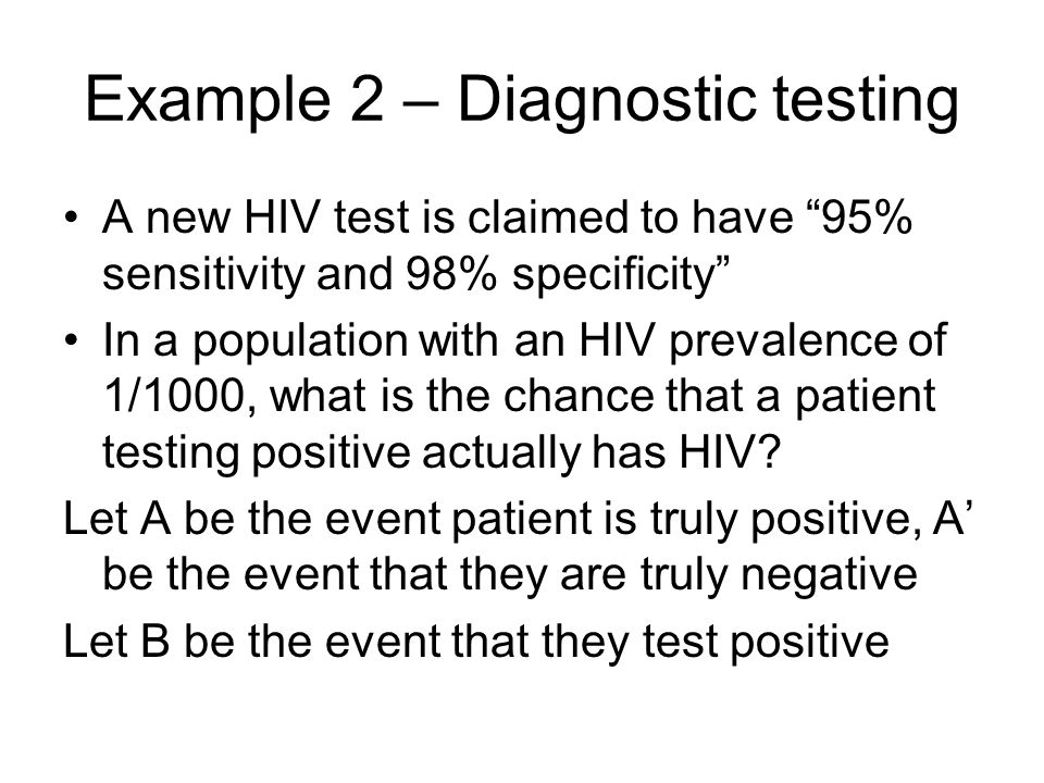 Example 2 – Diagnostic testing