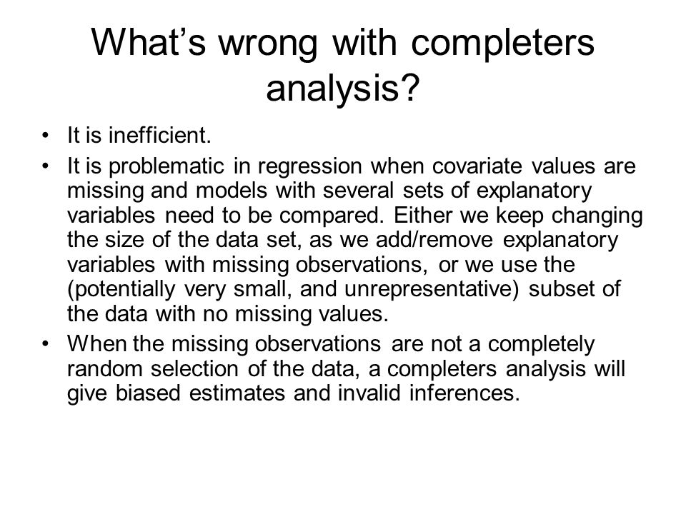 What's wrong with completers analysis