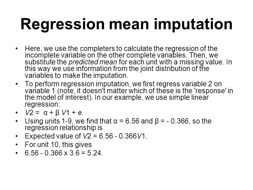 Regression mean imputation