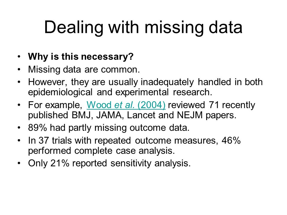 Dealing with missing data