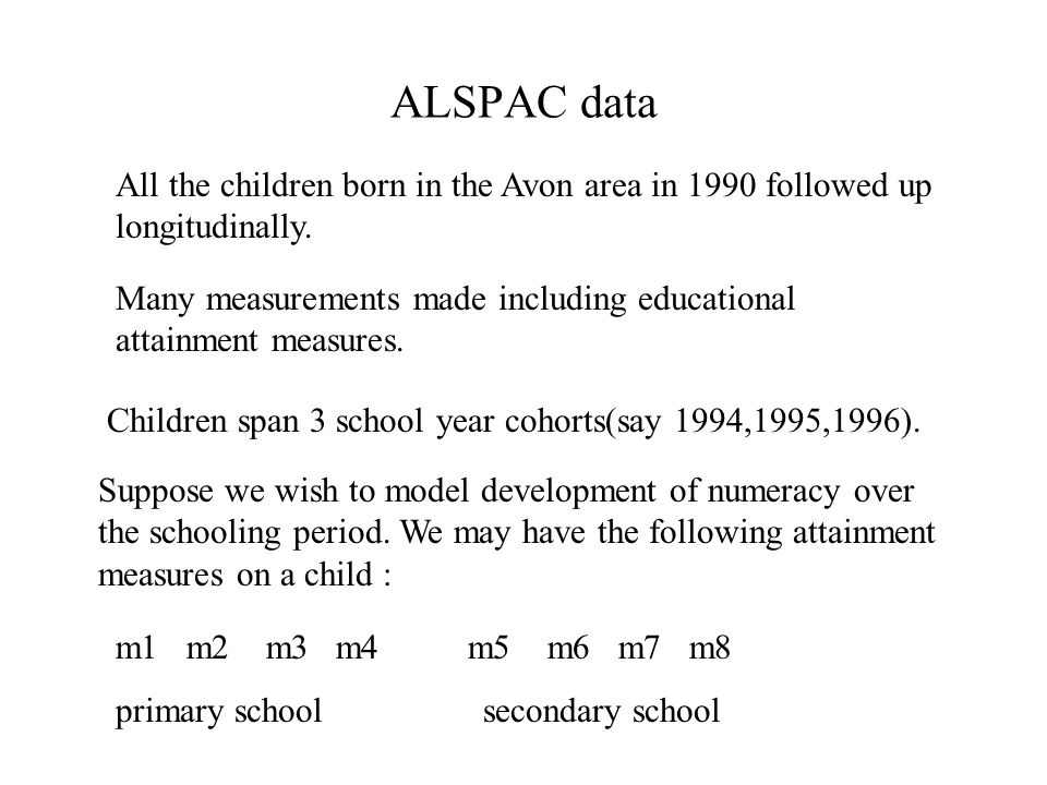 ALSPAC data All the children born in the Avon area in 1990 followed up longitudinally.