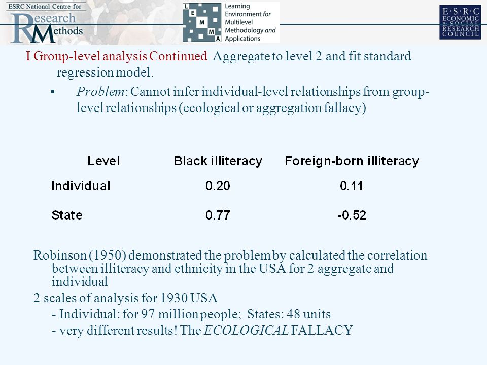 I Group-level analysis Continued Aggregate to level 2 and fit standard regression model.