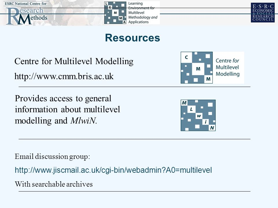 Resources http://www.cmm.bris.ac.uk