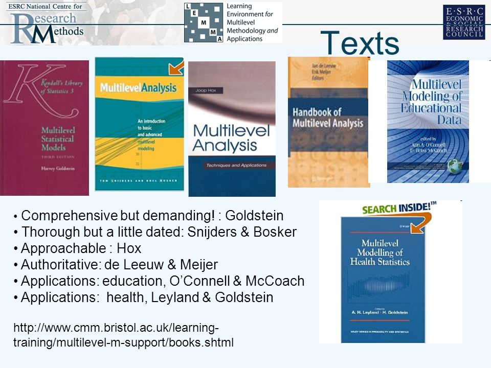 Texts Thorough but a little dated: Snijders & Bosker