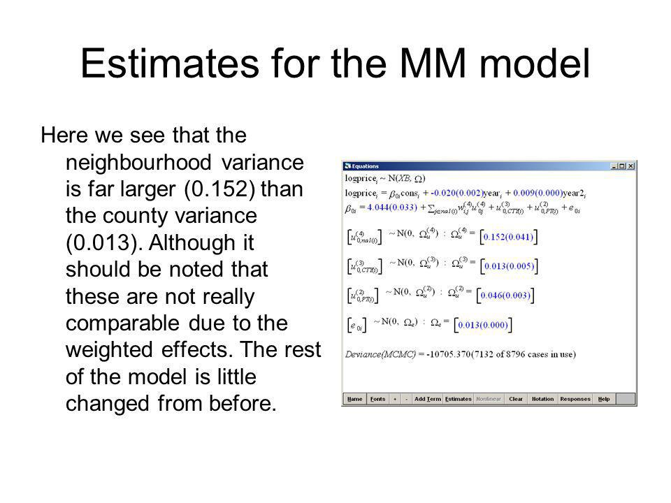 Estimates for the MM model