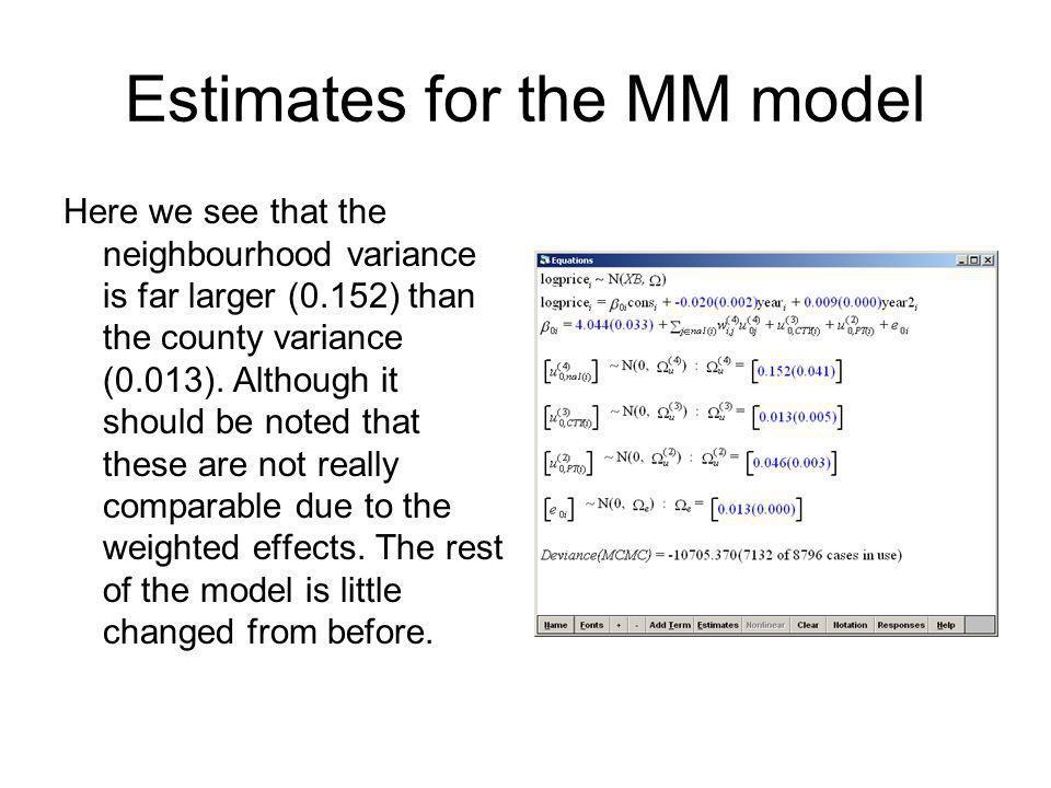 Estimates for the MM model