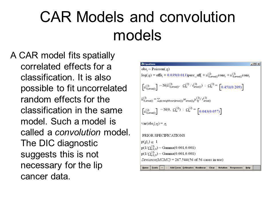 CAR Models and convolution models