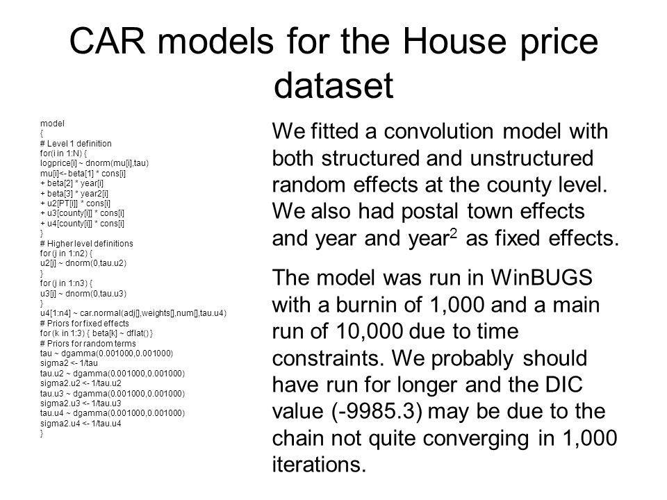 CAR models for the House price dataset