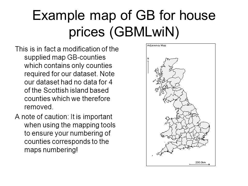 Example map of GB for house prices (GBMLwiN)