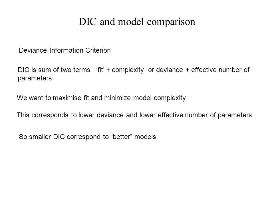 DIC and model comparison